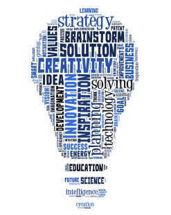 Lightbulb-shaped innovation word cloud. Editor, writer, and communications specialist.