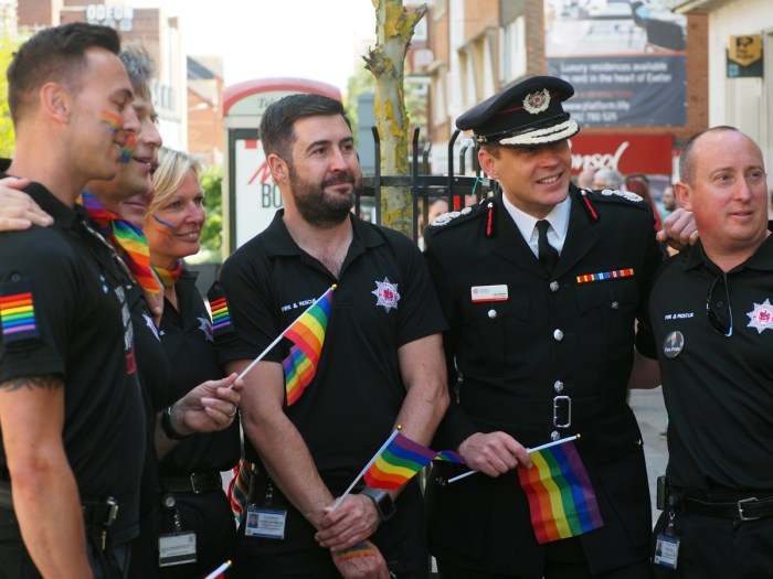 Firemen parading on Exeter's Faggots Parade.