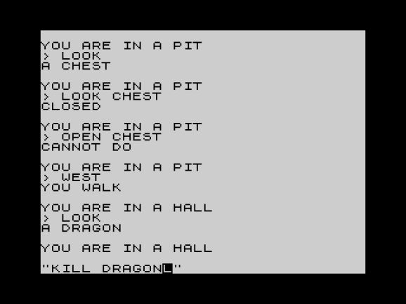 ZX81 Screenshot of the Tenliner Cave Adventure