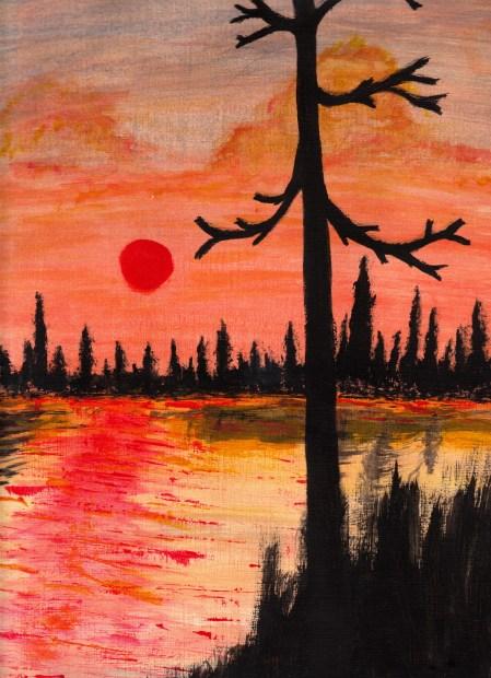 Lassen sunset my first acrylic