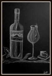 Wine glass white charcoal