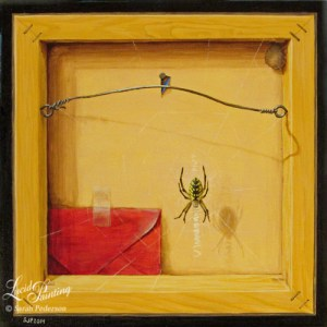 This trompe l'oeil painting appears that you are looking at the back of a canvas, but it is really all the flat surface of the front. Painted mitered wooden corners and staples add to the illusion. An Orb weaver spider hangs near the center and a nail head appears to poke through the painting on the other side of the canvas.