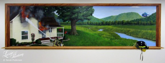This mural shows two fire fighters putting out a house fire in rural Wisconsin. A tree swing and child's slide indicate that a family lives in the home, adding to the composition and emotion of the mural.