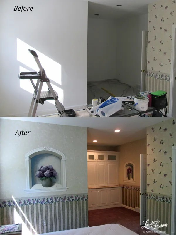 Faux wallpaper and niche mural, before and after painting