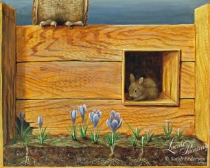 A cross section of crocuses growing in soil with flowers on the right side that have been chewed off. A baby bunny rabbit is nearby in a nook in the wooden fence. Above and to the left, we see the feet and sharp claws of an owl that is perched on the fence.