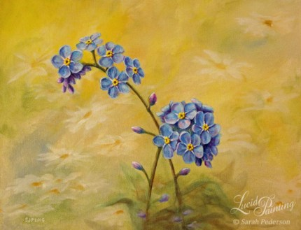 Close-up painting of forget me not flowers that are blue with yellow centers. Buds are purple. Background is yellow with daisies painted in a very subtle manner so they are not noticed at first glance.