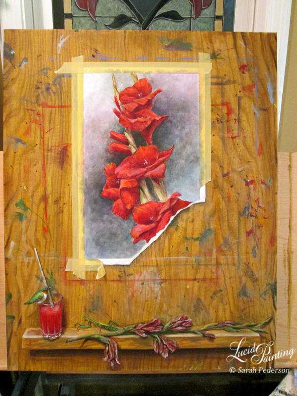 Another overall view of painting. The fine details of the gladiolus are completed, including the stamens and anthers of the flowers and deeper shadows and highlights within the painting.
