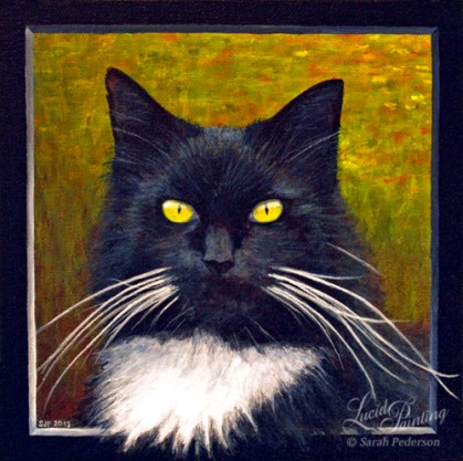 Pet cat painted with a faux frame so that his chest hair and whiskers overlap the front of the frame. Distant colors look like a flower-filled field.