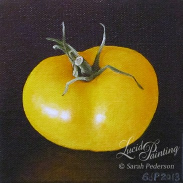 Still life painting of yellow tomato on a black background. A slight reflection of yellow is shown below the tomato.