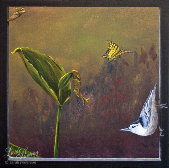 Lady Slipper has gone to seed and the tiger swallowtail butterfly has hatched, leaving the shell of the chrysalis behind. A nuthatch is grasping onto the faux frame. Fine art on canvas.