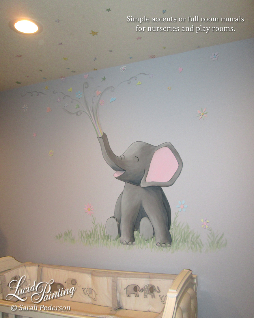 This cute stylized elephant sits on simple grasses and flowers above the crib in a nursery. The elephant shoots flowers, stars, and hearts out of his trunk across the wall and onto the ceiling.