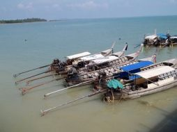 Fish tail boat Rai Lay Beach Krabi Thailand