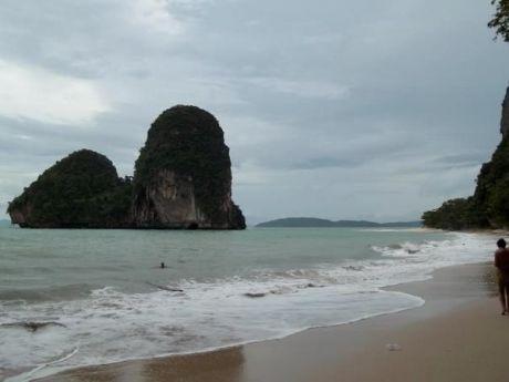 Rai Leh Beach Rock Formation and Cliff Krabi, Thailand. View from Ao Pranang Beach