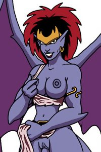 Demona the gargoyle revealing her big blue breasts and more.