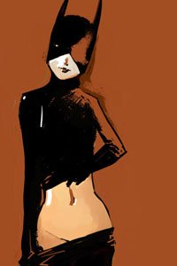 Catwoman standing, peeling off her pants.