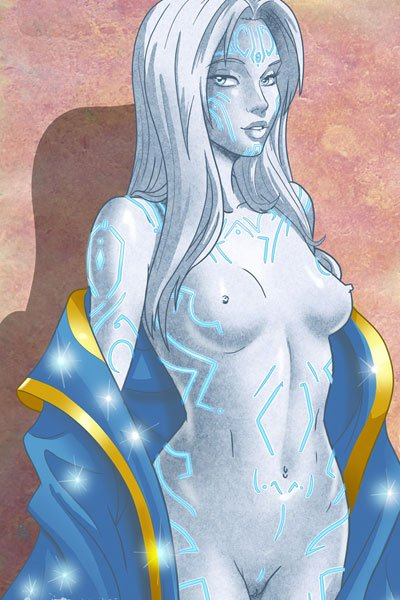 A gray golem woman drops her robe revealing electric blue lines all over her naked body.