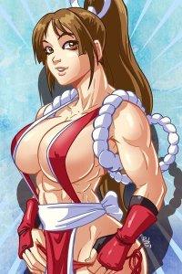 A muscular Mai Shiranui adjusts her panties.