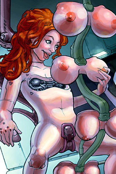 A naked cyborg samples a selection of oversized synthetic breasts.