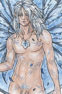 A beautiful blond man with blue wings stands naked.