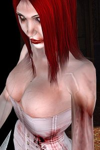 A gothic woman with long red hair and a misshapen arm wearing a white corset.