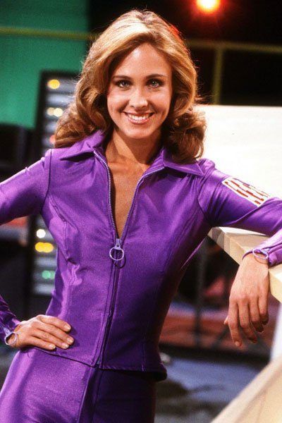Erin Gray as Colonel Wilma Deering in her slinky purple catsuit.