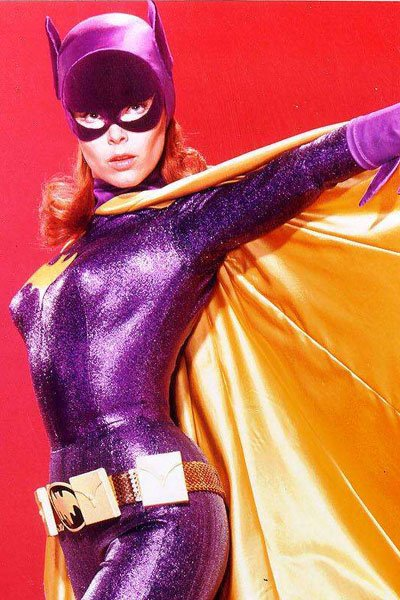 Yvonne Craig in her sexy form-fitting Batgirl costume.