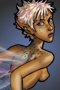 A pale-haired fairy with blue speckles looks over her shoulder.