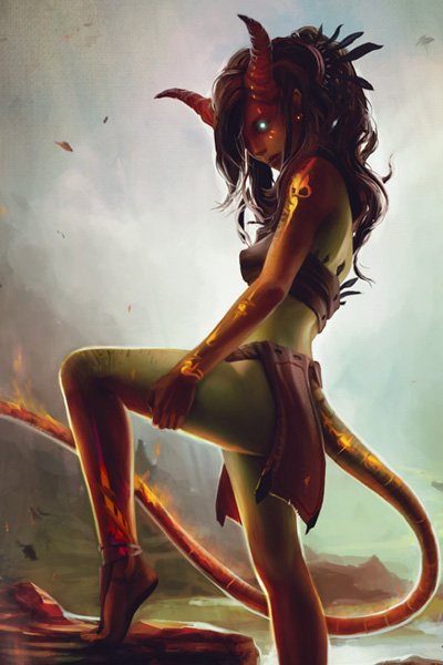 A slender horned woman with a long tail burns from within.