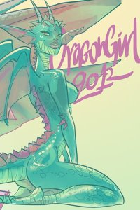 A slender green dragon woman with perky breasts exposed, with purple spikes along her spine, kneels.