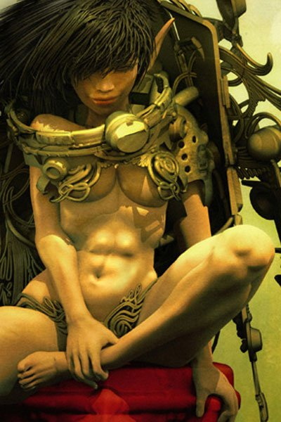 A lithe elf woman sits with one leg raised, wearing elaborate metal clothing and equipment.
