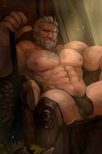 Overwatch's Reinhardt reclines in a chair wearing very little of his armor.