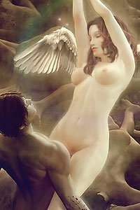 A pale winged woman stretches nude while being held by a mortal man.