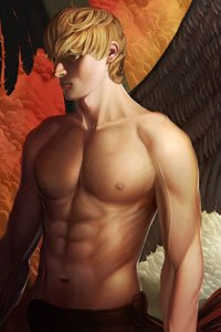 A muscular man with blond hair and dark wings stands brooding.