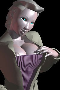 A pale woman with large breasts peaking out over a tight purple corset.