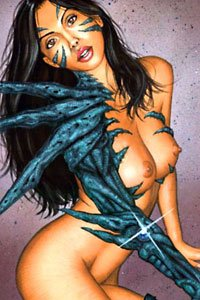 A naked woman with long black hair and strange biomechanical armor poses.