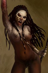 A nude woman with skull face paint and a bloody hand dances wildly.