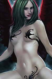 A pale slender woman with long black hair and large red wings.