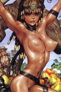An Egyptian queen with glistening skin bound naked