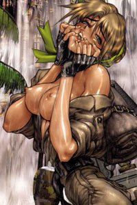 A euphoric adventurer reveals her large breasts near a waterfall.