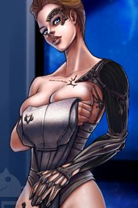 Star Trek Voyager's Seven of Nine out of uniform, with her Borg implants and skin exposed.