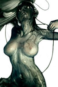 A pale nude woman with a shadowed face has a large dark bird on her shoulder.
