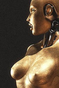 A grainy profile of a copper-colored robot woman's face and breasts.