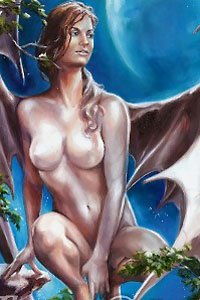 A naked winged woman with large pale breasts crouches in the moonlight.