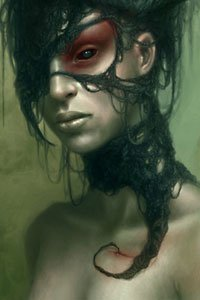 A pale woman with bloody eyes with a torn, living hood.
