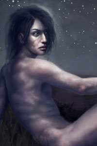 A young man sits nude in a field under a starry sky.