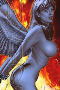 A naked gray angel strains against her bonds.