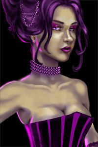 A sexy brunette in a purple bustier, revealing copious cleavage.