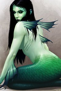 A pale green mermaid with long black hair sits, looking over her shoulder.