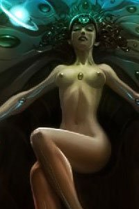 A nude woman with glowing implants in her arms lies seductively.