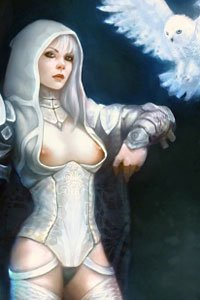 A woman dressed all in white with pink nipples peaking out from behind her corset summoning a snowy owl.